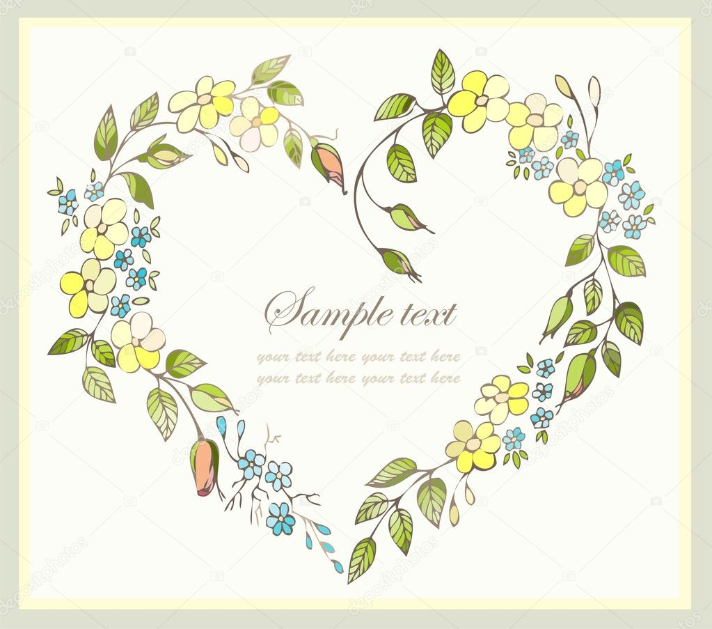 Hand drawn valentines day greeting card. Decorative framework with flowers. — Image vectorielle #5892759