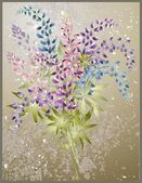 Background from flower of the lupine . Bouquet from a lupine flower. — Stok Vektör