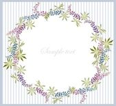 Greeting card with lupine . Beautiful decorative framework with flowers. — Vecteur