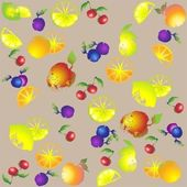 Seamless background from a fruits ornament, fashionable modern wallpaper or — Stock Vector
