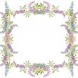 Greeting card with lupine . Beautiful decorative framework with flowers. — Stok Vektör #6297996