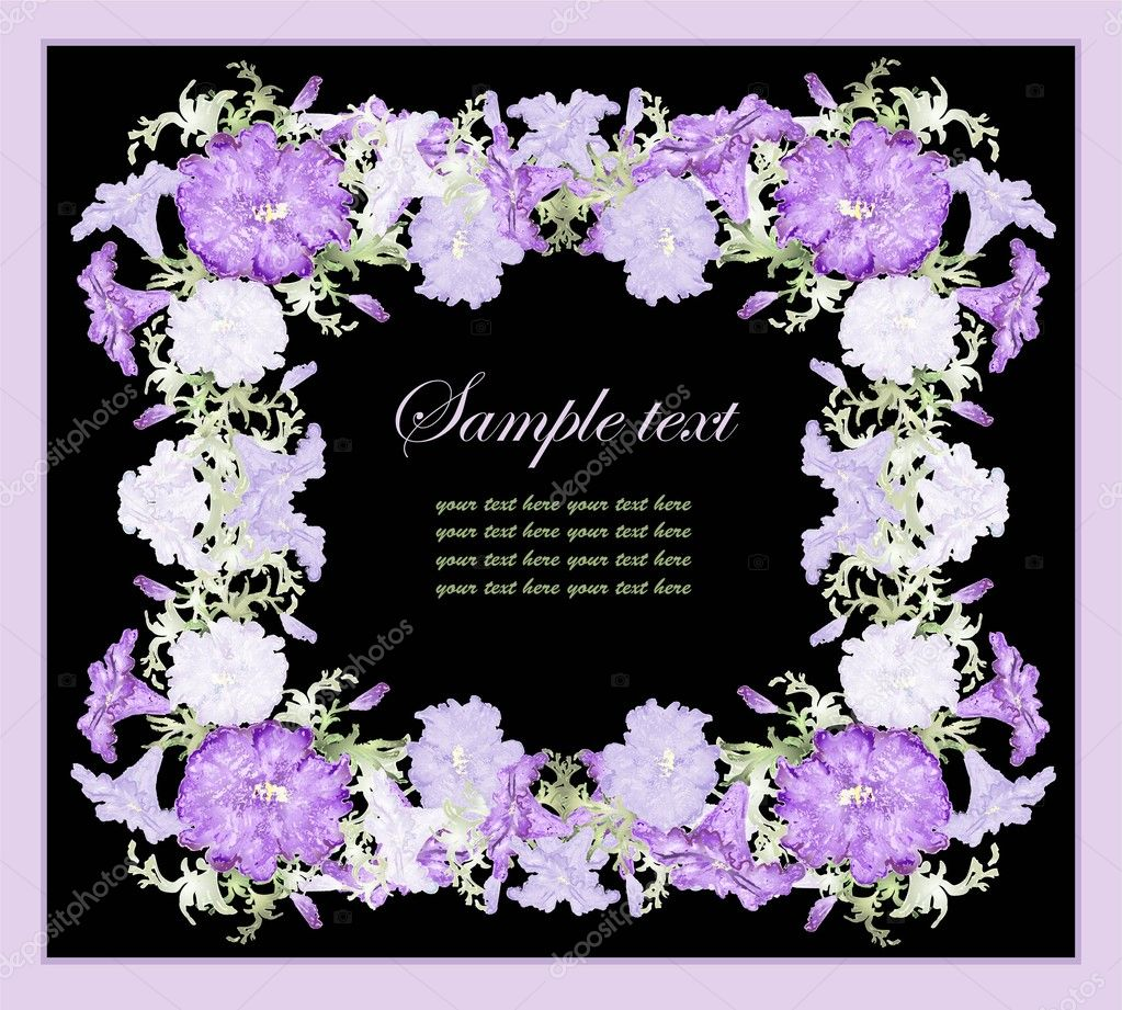 Greeting card with petunia .Beautiful decorative framework with flowers. — Stock Vector #6445432