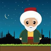Old muslim man — Stock Vector