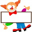 A Clown And A Signboard — Stock Vector