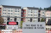 Construction signs around future roads — Stock Photo