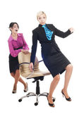 Two business ladies on white — Stock Photo