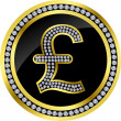 Pound golden icon sign with diamonds, vector — Векторная иллюстрация