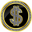 Usd golden icon sign with diamonds, vector — Векторная иллюстрация