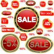Royalty-Free Stock Vector Image: Sale stickers and label set, diamonds and golden framevector illustration