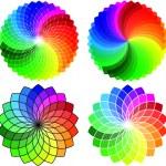 Circular color wheel pattern set, vector — Stock Vector
