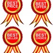 Best choice, best offer, best product and best labels with ribbons. Vector — Stock Vector
