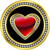 Love icon, golden with diamonds, vector — Stock Vector