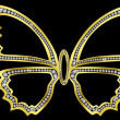 Golden butterfly with diamonds — Imagen vectorial