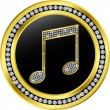 Music note button, golden with diamonds, vector illustration - Stockvektor
