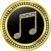Music note button, golden with diamonds, vector illustration — Stock Vector