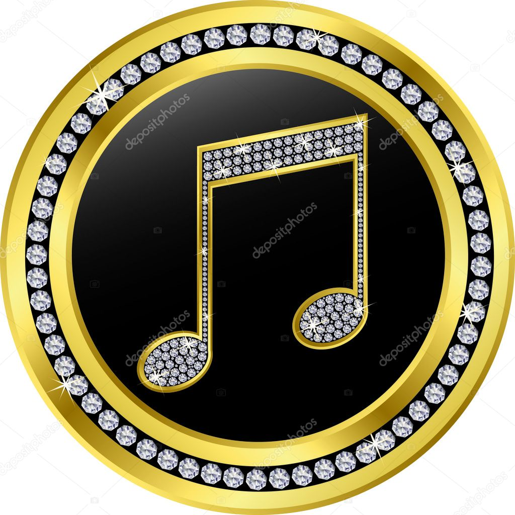 Music note button, golden with diamonds, vector illustration  — Stock Vector #5781681