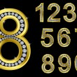 Royalty-Free Stock Vector Image: Number set, golden with diamonds