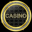 Casino icon, golden button with diamonds, vector illustration - Stockvektor