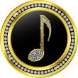 Music note button,golden with diamonds, vector illustration — Stock Vector
