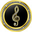 Royalty-Free Stock Vector Image: Treble clef button, golden with diamonds, vector illustration
