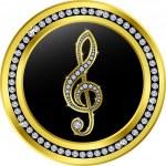 Treble clef button, golden with diamonds, vector illustration — Stock Vector