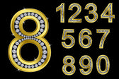 Number set, golden with diamonds — Stock Vector