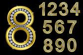 Number set, golden with diamonds — Stock Vector