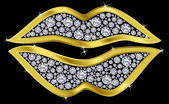 Lips kiss, golden with diamonds, vector illustration — 图库矢量图片