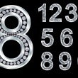 Numbers set, from 1 to 9, silver with diamonds — ストックベクタ #6344774