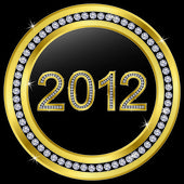 New year 2012 icon golden with diamonds, vector — Stock Vector