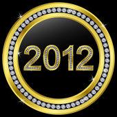 Nový rok 2012 ikonu zlatý s diamanty, vektor — Stock vektor