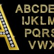 Golden alphabet, letters from A to Z — Vettoriali Stock