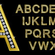 Golden alphabet, letters from A to Z — Stockvectorbeeld