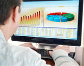 Analyzing data on computer. — Stock Photo