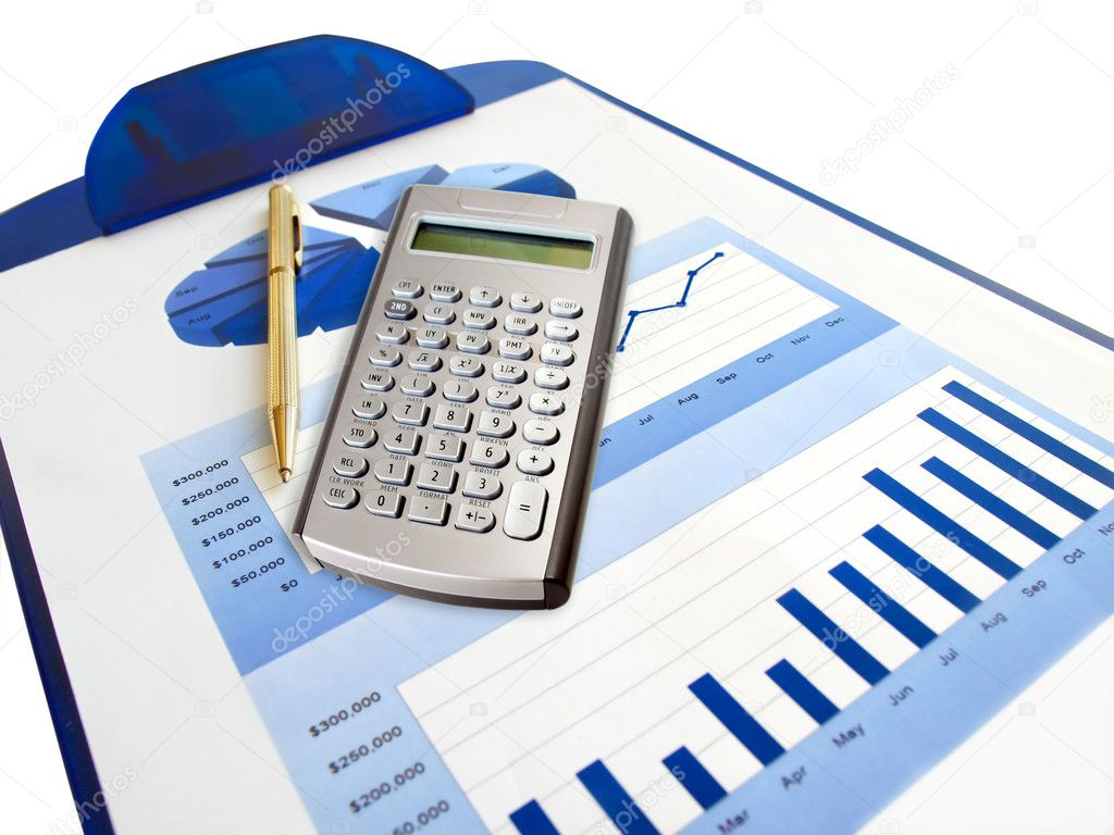Pen Calculator And Investment Chart Stock Photo