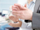 Close-up of hands applauding — Stock Photo