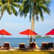 Panorama of perfect tropical beach with red umbrellas — Foto de Stock