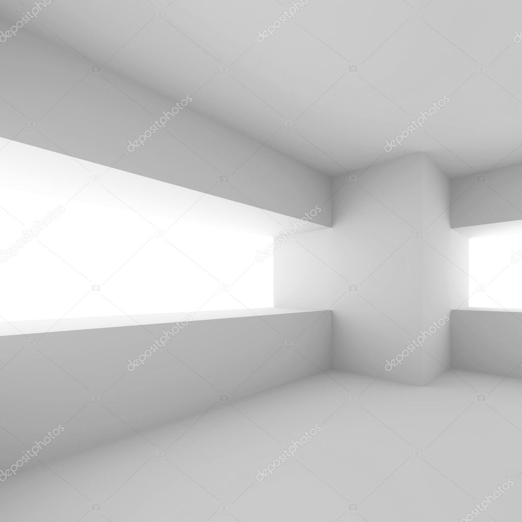 3d Illustration of White Modern Empty Room — Stock Photo #6136397