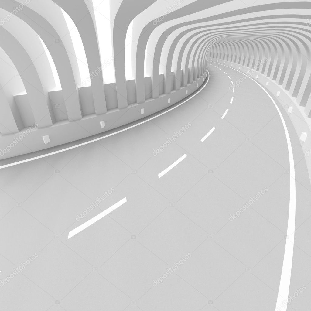 3d Illustration of White Futuristic Tunnel Background — Stock Photo #6203241