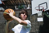 Basketball Player with Blurred Background — Stock Photo