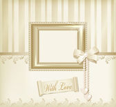 Vector beige background with photo frames, ribbon and pearls — Stock Vector