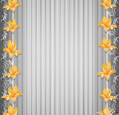 Vector grey background with border lilies — Stock Vector