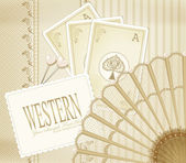 Vector background in western style with the fan and playing card — Stock Vector