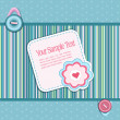 Royalty-Free Stock Vector Image: Vector striped background, with a button, card, heart and flower