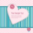 Vector striped striped background with hearts and buttons — Imagen vectorial