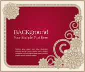 Red vector frame with floral patterns — Stock Vector