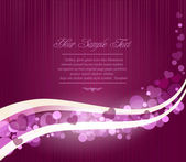 Vector romantic abstract purple background with waves and hearts — Stock Vector