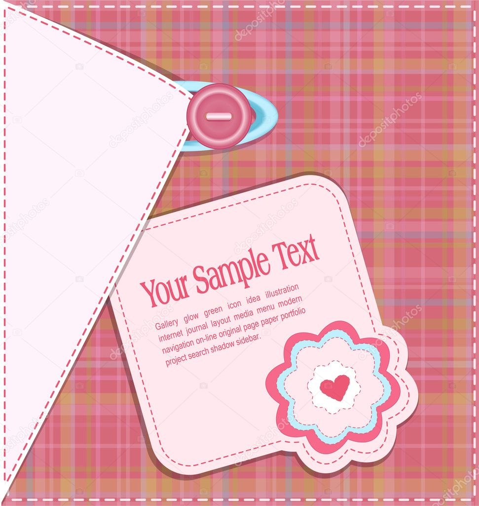 Vector woven background, with a button, card, heart and flower — Stock Vector #5901523