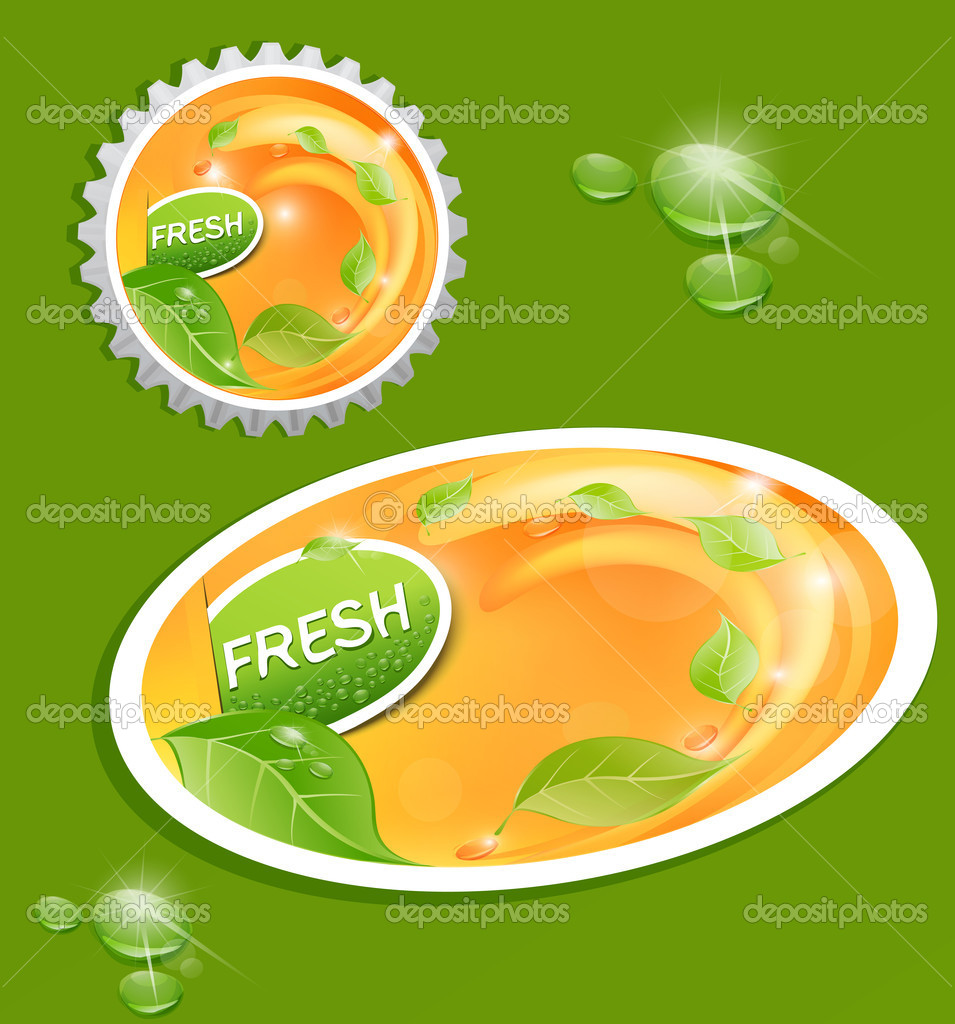 Vector stickers and bottle cap with a juicy, fresh background with leaves and drops  Stock Vector #5901959