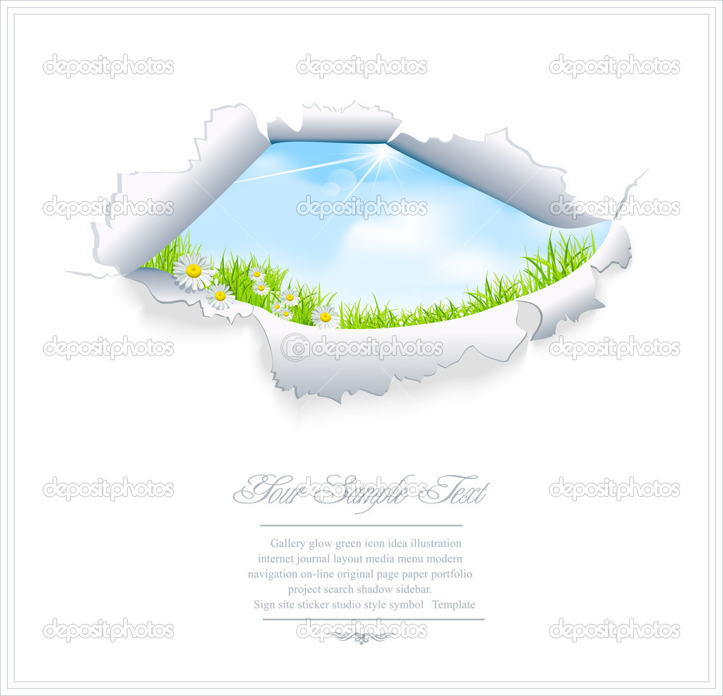 Vector blue sky through the torn paper on a white background — Stock Vector #5903191
